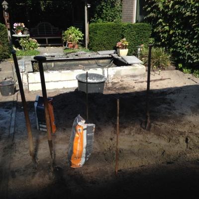 Renovatie achtertuin met vijver Kaatsheuvel